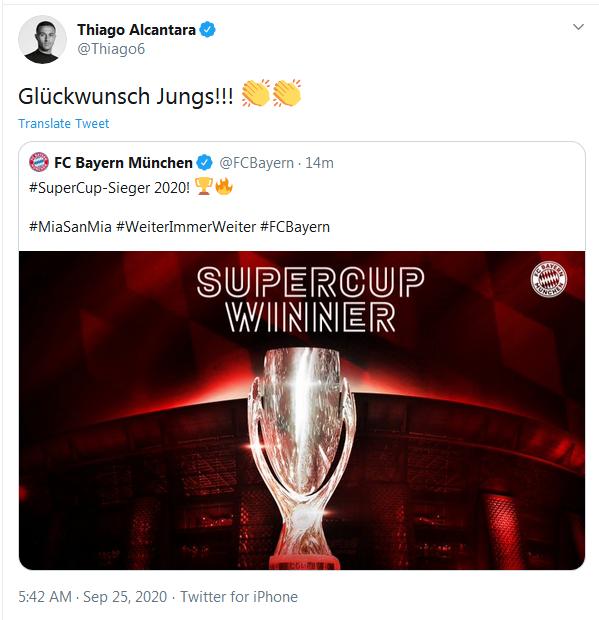 蒂亚戈给拜仁送上恭喜