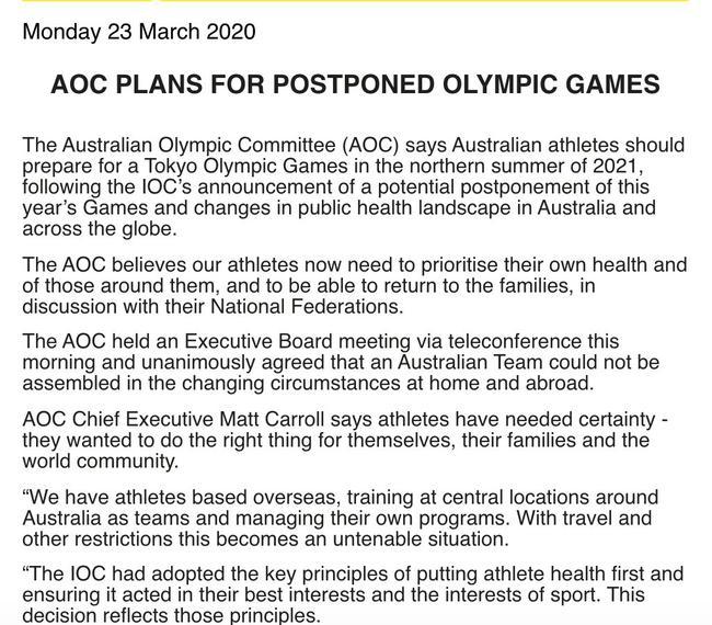 澳大利亚宣布退出2020东京奥运会