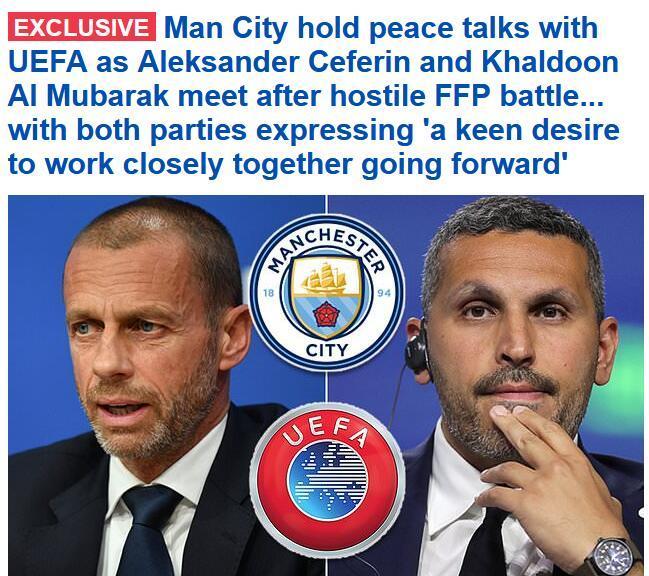 曼城和欧足联和谈!双方承诺开启友谊的新时代
