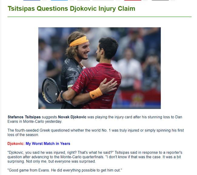 西西帕斯质疑德约打伤病牌 澳网重伤不也能夺冠吗