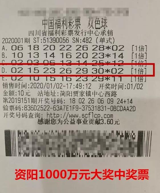 男子10元機選擒雙色球1000萬火速兌:好好補償妻子