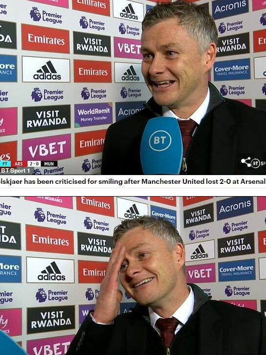 输给阿森纳后,索帅笑着接受采访