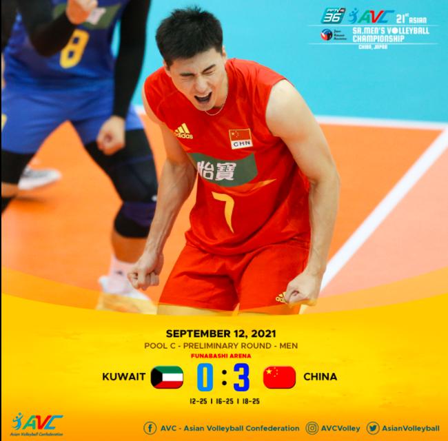 亚锦赛中国男排3-0完胜科威特 夺小组赛开门红