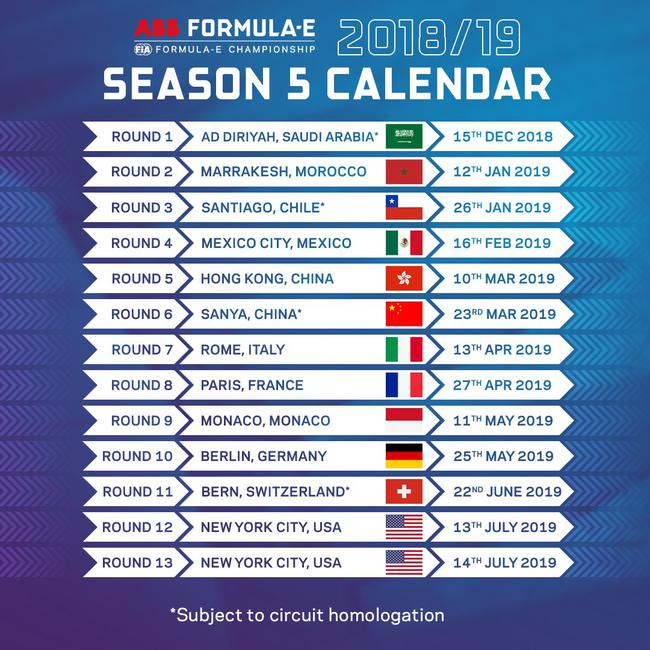 2018-19 FE锦标赛赛程外