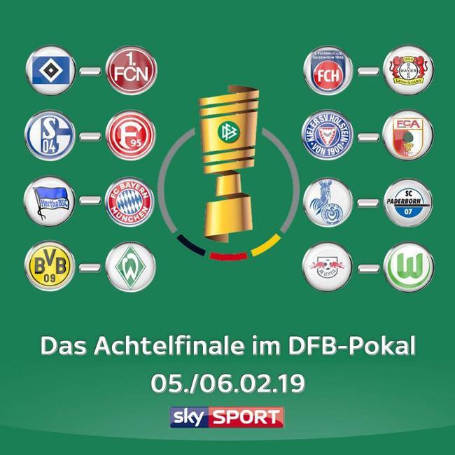 德国杯16强抽签出炉:拜仁多特均迎战德甲队