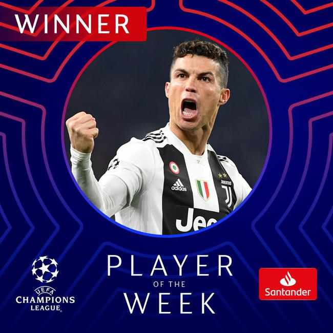 C罗当选欧冠本周最佳球员