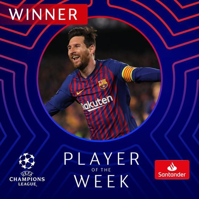 梅西当选欧冠周最佳