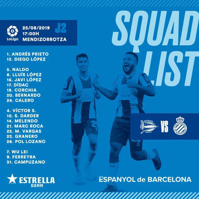 西班牙人公布联赛大名单:武磊入围 标王在列