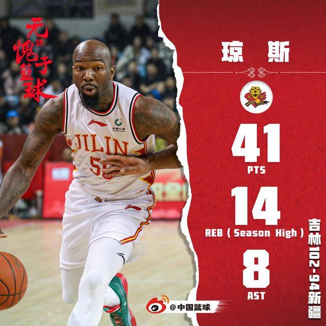 琼斯41+14+8赛季第11次砍下40+ 篮板创赛季新高