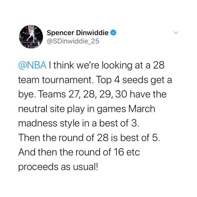 篮网大将建议NBA季后赛改制!28队打锦标赛决胜