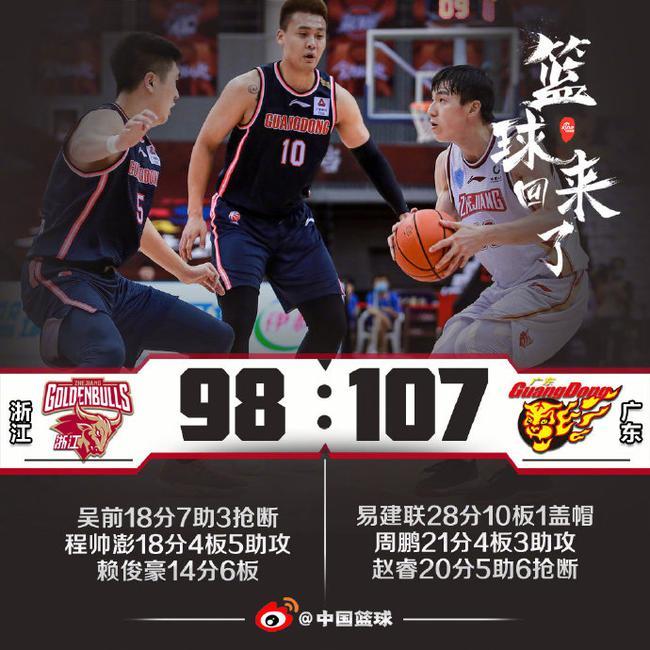 阿联28+10吴前18+7+5 广东力克浙江豪取27连胜