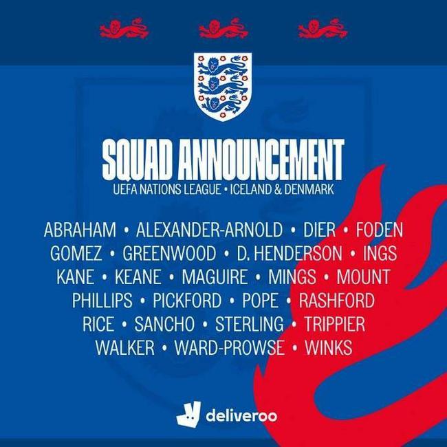 2020年9月英格兰欧国联参赛名单
