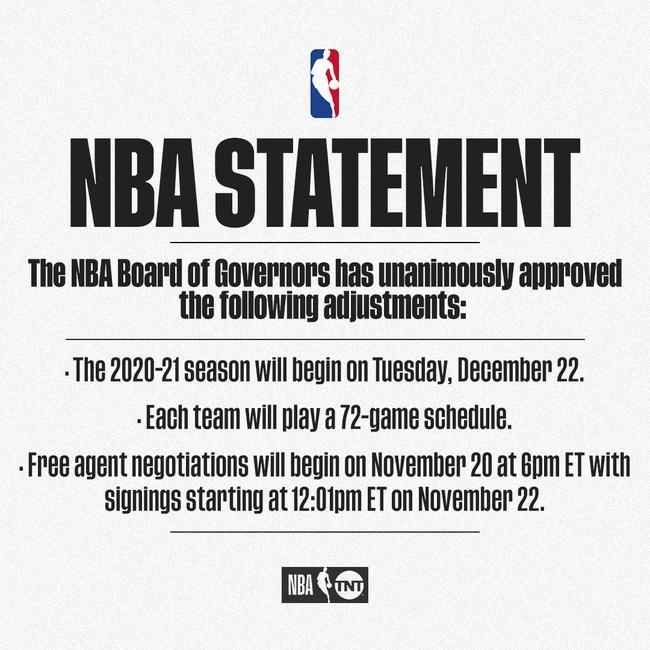 NBA董事会上全票经过新赛季从12月23日开打的提案