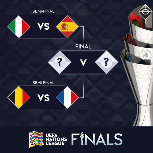 欧国联四强对阵:意大利战西班牙 法国对比利时