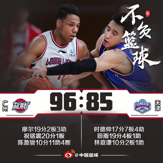 祝铭震20分创生计新高 广州队击败天津取3连胜