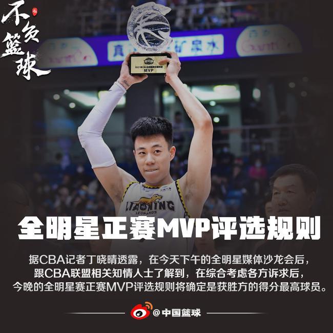 全明星正赛MVP评选规则:获胜队得分最高球员