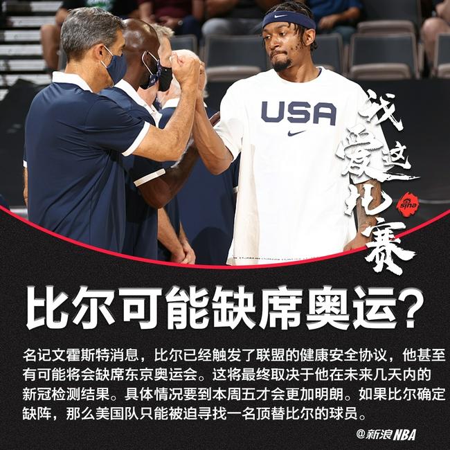 比尔可能直接缺席东京奥运!要到周五才能确认