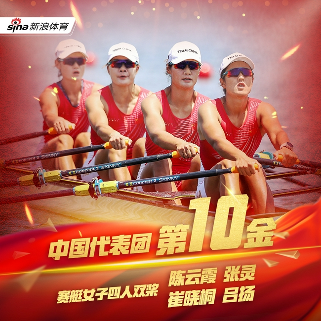 第10金!女子四人双桨决赛 中国赛艇金花强势夺金