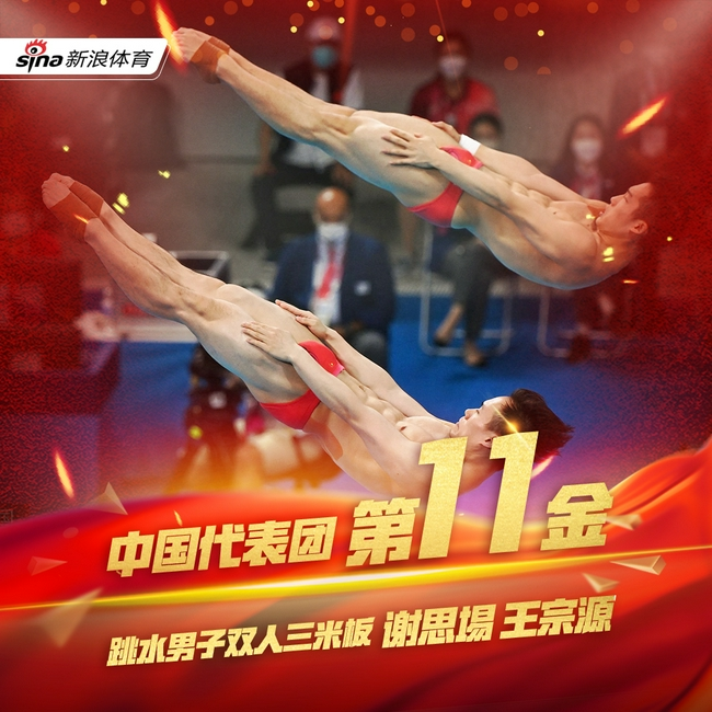 第11金!谢思埸王宗源双人3米板夺冠 赛场又见0分
