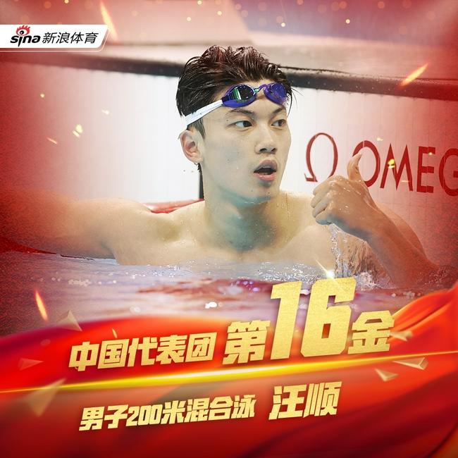 第16金!男子200米混合泳汪顺夺冠 打破亚洲纪录