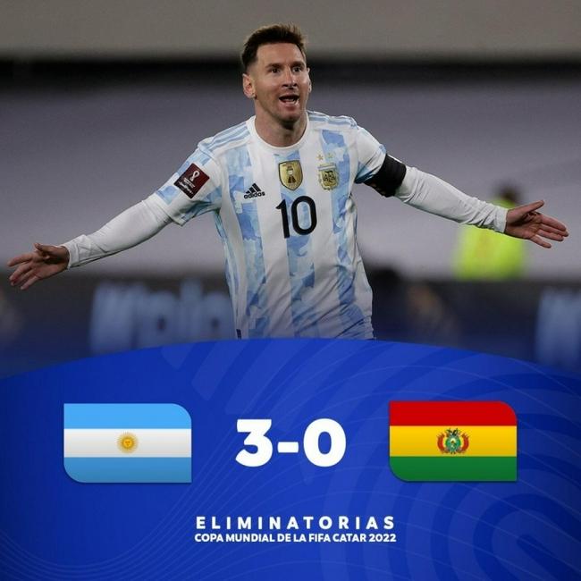 世预赛-梅西帽子戏法超贝利  阿根廷3比0玻利维亚