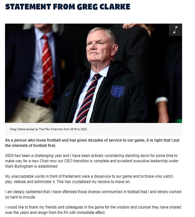 英足总主席因宣布争议言辞辞去职务