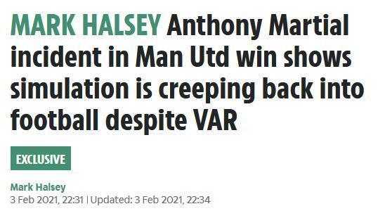 名哨:马夏尔假摔骗了裁判 演得太像VAR都没看出来