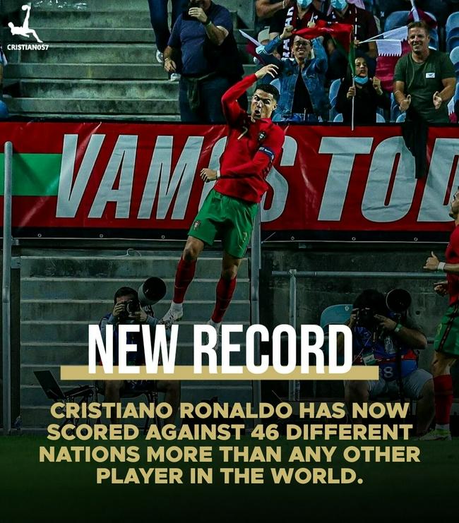 破46支不同国家队大门!C罗成足球历史第一人!