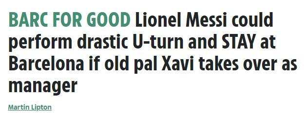 如果哈维回归,梅西仍可能回心转意