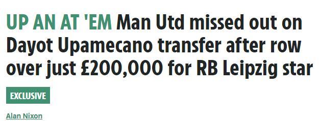 曝曼联为省20万错过欧洲红星 如今买他要5500万
