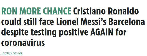 英报:C罗仍有可能对阵梅西 赛前24小时转阴即可