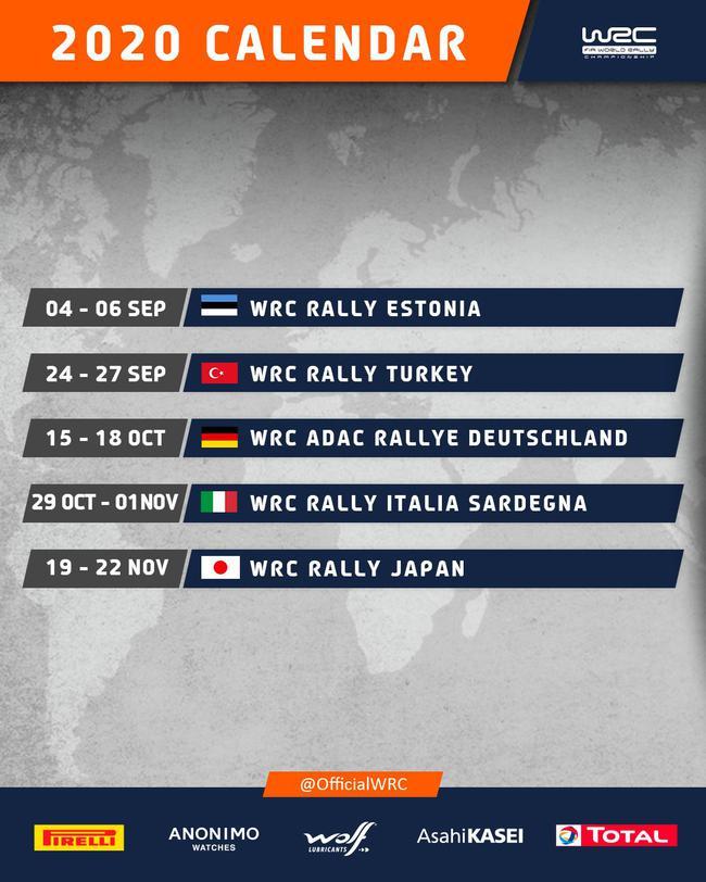 世界拉力锦标赛(WRC)修正版2020赛历