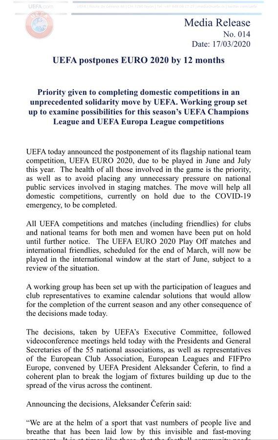 2020欧洲杯推迟一年进行