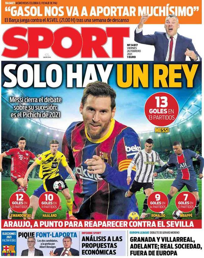 梅西进球超C罗莱万等四大巨星 加媒:唯一王者