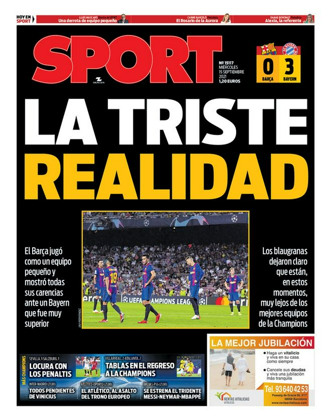 西班牙媒体:巴萨已变成小球队 梅西离开球队没了救生圈!
