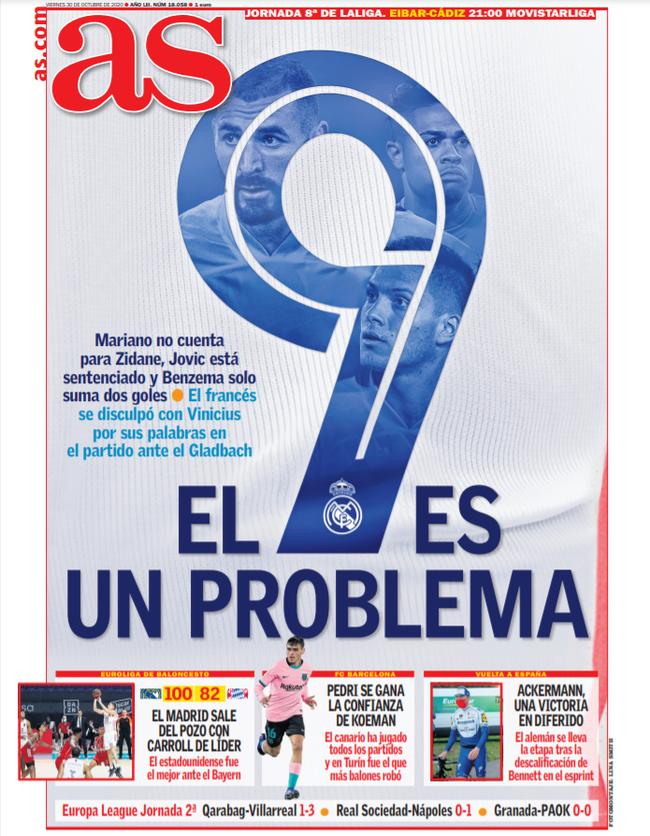 """9号已经成为问题"""",周五的西班牙《阿斯报》打出了这样的标题"""