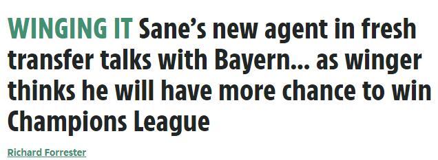 萨内认为,往拜仁拿欧冠的机会比留在曼城大