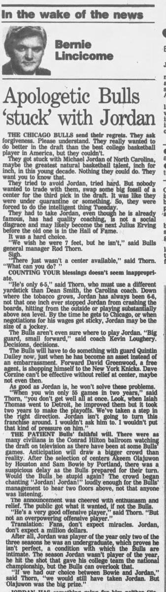 前公牛GM:84年本想选个中锋 不得已才选了乔丹