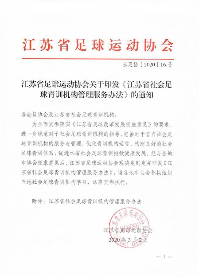 江苏出台社会足球青训机构管理服务手段
