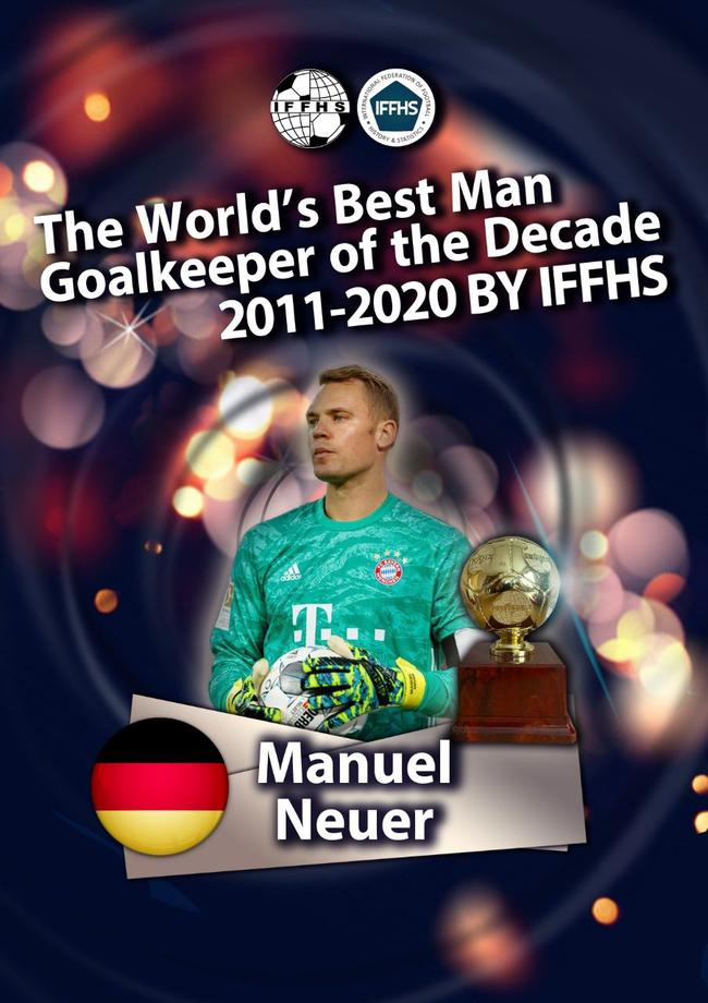 IFFHS评十年最佳门将:诺伊尔第1布冯第2 卡西第10