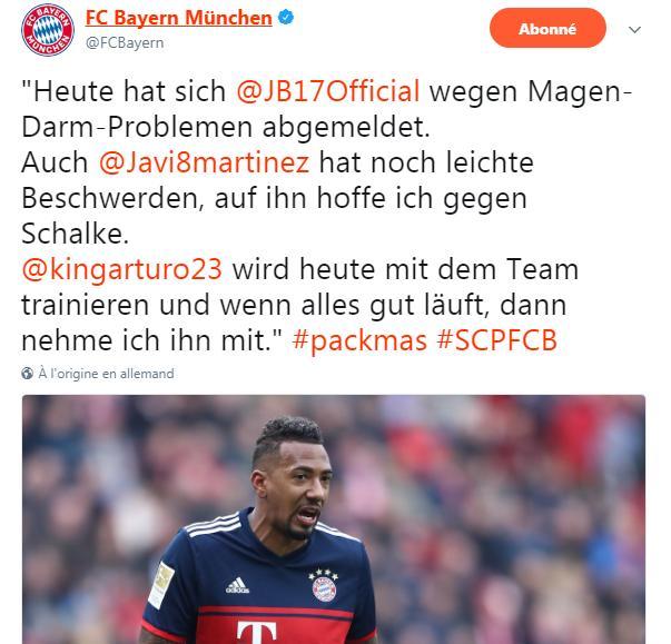 拜仁官方宣布两大悍神无缘德国杯 比达尔痊愈