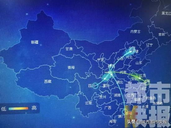 从西安选择火车出行的人,主要去的是成都、洛阳、北京。