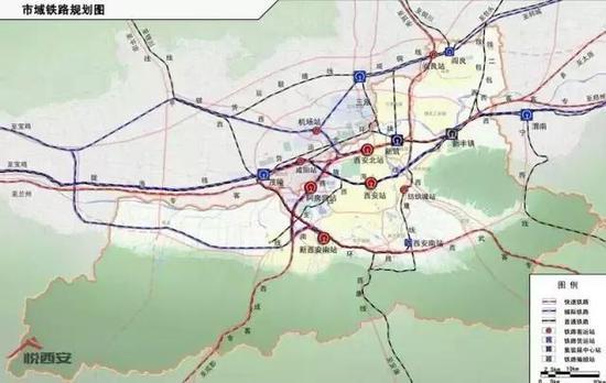西安北至西安咸阳国际机场城际轨道