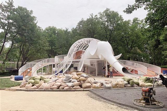 """兴庆宫公园下月开园 大象滑梯有了新""""伙伴"""""""