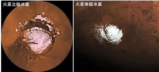 火星南北极冰盖,其中既有水冰,也有干冰(固态二氧化碳)。来源:NASA
