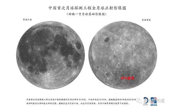 """基于""""嫦娥1号""""数据构建的全月球地图。左侧为正面,吾们熟识的月球;右侧是吾们地球上看不到的背面。红字标出了SPA盆地位置 来源:中科院国家天文台"""