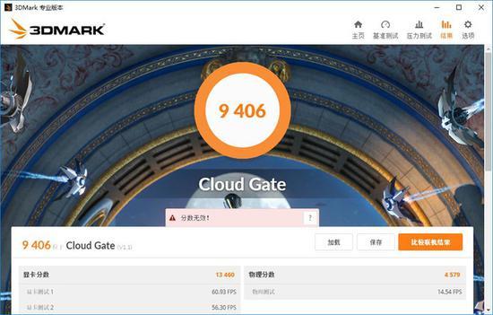 ↑3DMARK测试:Cloud Gate模式9406分