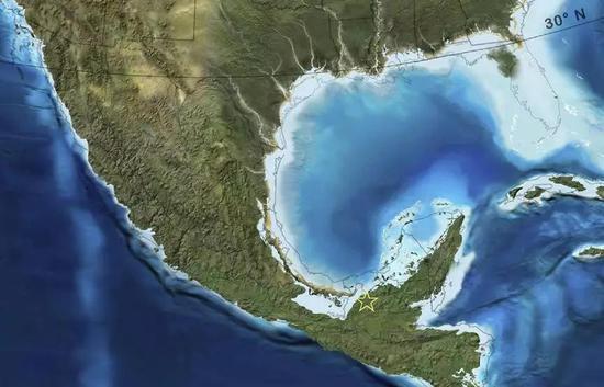 图2。 早中新世墨西哥东南部古地理地图,星号标注了位于墨西哥恰帕斯的Campo La Granja矿的大致位置(引自http://cpgeosystems.com/paleomaps.html)