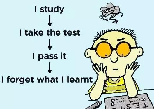 我学习→我考试→我过了→我忘了我学的东西。图片来源:blogspot.com
