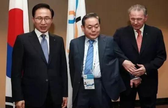 图注:从左至右:李明博,李健熙,罗格